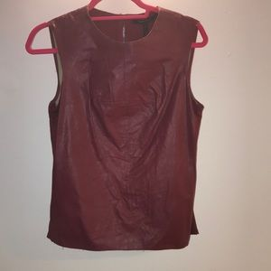 Bcbg faux leather burgundy top